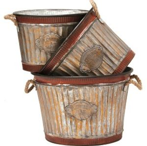 Deer Park Ironworks - Wide Corrugated Oval Tub Planters Set - Natural Patina - 3Pc