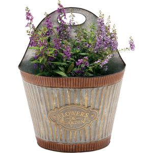 Deer Park Ironworks - Wide Corrugated Wall Planter Flowers And Garden - Galvanized