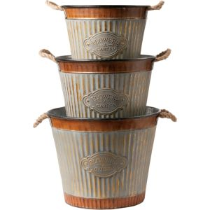 Deer Park Ironworks - Wide Corrugated Tub Planter - Galvanized - Set Of 3