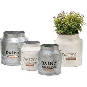 Deer Park Ironworks - Dairy Jug Planter Cream/Galvanized - Galvanized - Set Of 2