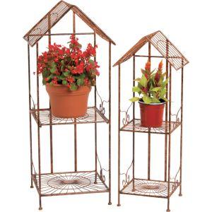 Deer Park Ironworks - Sunburst Canopy Plant Stand - Natural Patina - Set Of 2