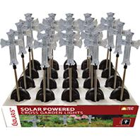 Alpine Corporation - Solar Cross Garden Stake With White Led Lights - 34 Inch