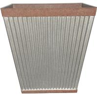 Southern Patio - Pleated Square-Rustic Planter - Galvanized - 16 Inch
