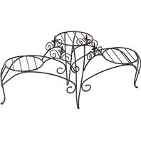 Panacea  - 3- Tiered Plant Stand With Finial-Black-15 Hx34.5 W