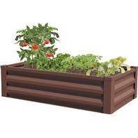 Panacea  - Raised Galvanized Planter-Timber Brown-48X24X12