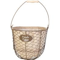 Panacea - Egg Gathering Basket/Planter With Burlap Liner-Rust W/Burlap-10  X 8