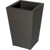 The Master Gardner - Vista Planter Square Resin Wicker with Plastic Liner - Black - 24 Inch