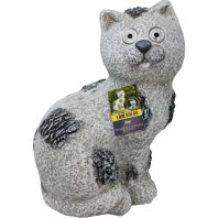 Alpine Corporation - Solar Slate Cat Garden Statue With Led Lights - 14 In