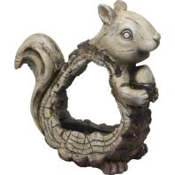 Alpine Corporation - Stone Squirrel Planter With Wooden Carved Finish - 15 In