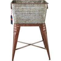 Behrens Manufacturing - Embossed Aged Galvanized Square Tub with Stand
