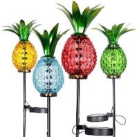 Exhart - Solar Pineapple Garden Stakes In Tray Display - Assorted - 12 Piece