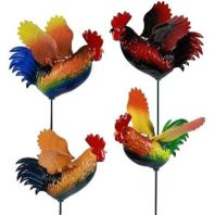 Exhart - Windywings Rooster Garden Stake - Multi - 7 Inch/24 Piece