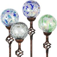 Exhart - Solar Pearlized Glass Honeycomb Garden Stakes - Assorted