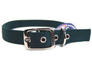 Hamilton Pet - Deluxe Double Thick Nylon Dog Collar - Hunter Green - 1 Inch x 30 Inch