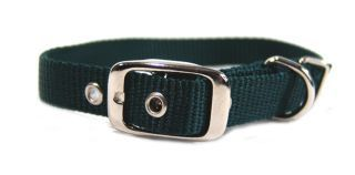 Hamilton Pet - Single Thick Nylon Deluxe Dog Collar - Hunter Green - 0.63 Inch x 18 Inch