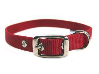 Hamilton Pet - Deluxe Single Thick Nylon Collar - Red - 0.63 Inch x 18 Inch