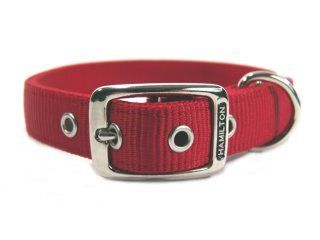 Hamilton Pet - Deluxe Double Thick Nylon Dog Collar - Red - 1 Inch x 22 Inch