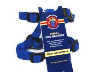 Hamilton Pet - Adjustable Comfort Nylon Harness - Blue - 5/8 x 12-20 Inch