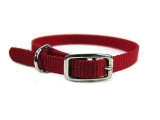 Hamilton Pet - Deluxe Single Thick Nylon Dog Collar - Red - 0.38 Inch x 12 Inch