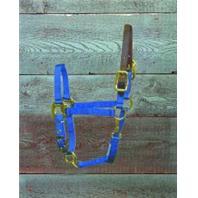 Hamilton Halter - Adjustable Halter with Leather Head Pole - Blue - Pony
