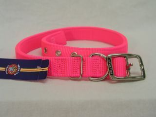 Hamilton Pet - Double Thick Nylon Deluxe Dog Collar - Hot Pink - 1 Inch x 26 Inch