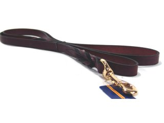 Hamilton Leather - Leather Twisted Lead with Snap - Burgundy - 3/4 Inch x 6 Feet