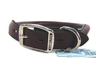 Hamilton Leather - Rolled Leather Collar - Burgundy - 1 x 22 Inch