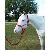 Hamilton Halter - Adult Rope Halter with Lead - Red - Average