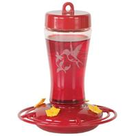 Homestead/Gardner - Glass Hummingbird Feeder - Red - 12 oz