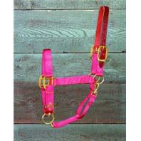 Hamilton Halter - Adjustable Halter with Leather Head Pole - Red - Average