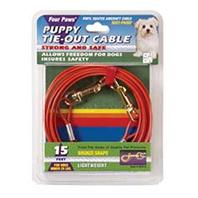 Four Paws - Puppy Tie Out Cable - Orange - 15 Feet