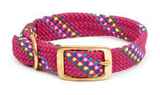 "Mendota Pet - Double Braid Collar - Raspberry Confetti - 1""w up to 24 Inch"