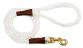 Mendota Pet - Snap Leash - White - 1/2 Inch x 4 Feet