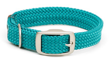 """Mendota Pet - Double-Braid Junior Collar with Satin Hardware - Teal - 9/16""""w up to 14 Inch"""