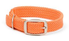 "Mendota Pet - Double-Braid Junior Collar with Satin Hardware - Orange - 9/16""w up to 14 Inch"