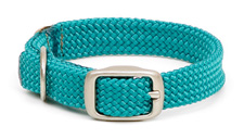 """Mendota Pet - Double-Braid Junior Collar with Satin Hardware - Teal - 9/16""""w up to 12 Inch"""