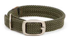 "Mendota Pet - Double-Braid Junior Collar with Satin Hardware - Olive - 9/16""w up to 12 Inch"
