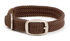 """Mendota Pet - Double-Braid Junior Collar with Satin Hardware - Brown - 9/16""""w up to 12 Inch"""