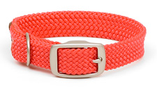 """Mendota Pet - Double-Braid Collar with Satin Hardware - Red - 1""""w up to 18 Inch"""