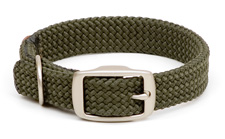 "Mendota Pet - Double-Braid Collar with Satin Hardware - Olive - 1""w up to 24 Inch"