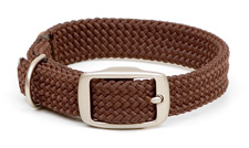 """Mendota Pet - Double-Braid Collar with Satin Hardware - Brown - 1""""w up to 21 Inch"""