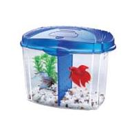 All Glass Aquarium - Betta Bowl Kit With Divider - BLue .5 Gallon