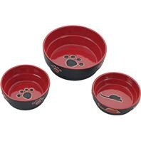 Ethical Stoneware Dish - Fresco Dog Dish - Red - 5 Inch