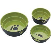 Ethical Stoneware Dish - Fresco Dog Dish - Green - 5 Inch