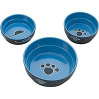 Ethical Stoneware Dish - Fresco Dog Dish - Blue - 7 Inch