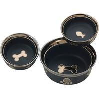 Ethical Stoneware Dish - Ritz Copper Rim Cat Dish - Black - 5 Inch