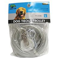 Booda - Aspen Pet Dog Tieout With Trolley Wheel - Clear - 75 Feet