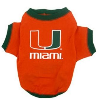 DoggieNation-College - Miami Hurricanes Dog Tee Shirt - Xtra Small