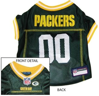 DoggieNation-NFL - Green Bay Packers Dog Jersey - Yellow Trim - Xtra Small