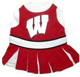 DoggieNation-College - Wisconsin Cheerleader Dog Dress - XtraSmall